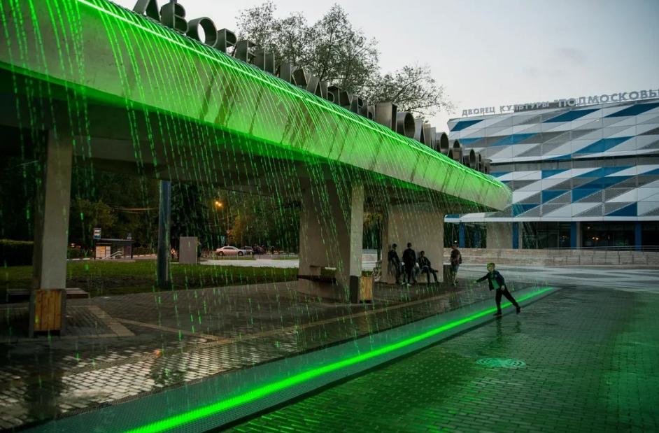 Светодинамическая подсветка фонтана в Красногорске